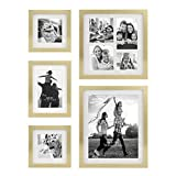 Stonebriar Decorative Stamped Gold 5 Piece Photo Frame Set, Wall Hanging Display, Modern Gallery Wall Set