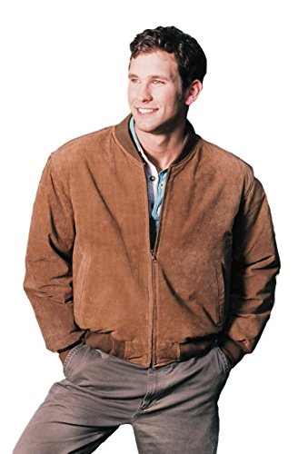 REED MEN'S BASEBALL SUEDE LEATHER JACKET (IMPORTED) (XL, CAMEL) (Suede Leather Jacket Varsity)