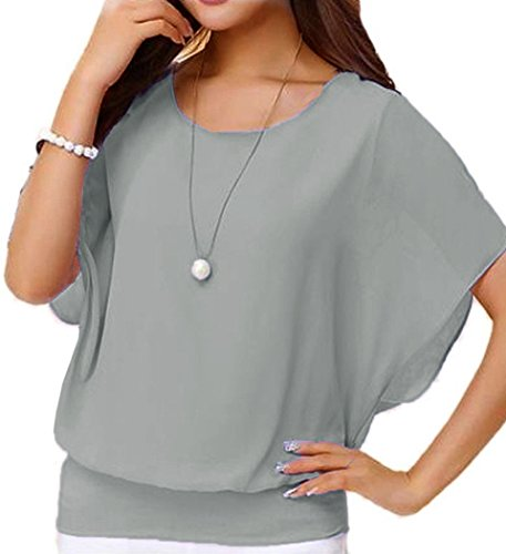 (Viishow Women's Loose Casual Short Sleeve Chiffon Top T-Shirt Blouse Grey XXL)