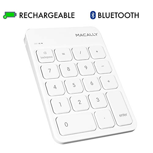 Numeric Number Keypad Keyboard Pad - Macally Wireless Bluetooth Numeric Keypad Keyboard for Laptop, Apple Mac iMac MacBook Pro/Air, iPad Windows PC, Tablet, or Desktop Computer Rechargeable 18 Key Slim Number Pad Numerical Numpad - White