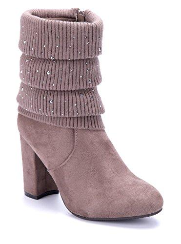 8fe59beeb13fb5 Schuhtempel24 Damen Schuhe Klassische Stiefeletten Stiefel Boots  Blockabsatz Ziersteine 9 cm Khaki