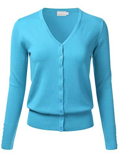 FLORIA Women's Button Down V-Neck Long Sleeve Soft Knit Cardigan Sweater AQUA2 1XL ()
