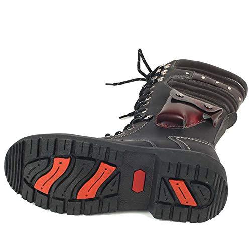 Pu Combate Botas Boot La Cuero Trabajo Motocicleta Merryhe Black Cosplay Calzado Vaquero Zapatos Martin Motorista De Mediados Cordones Hombre PYqd0