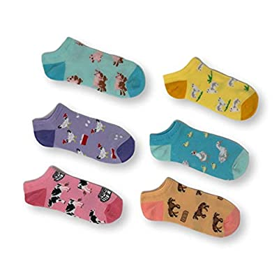 K. Bell Women's 6 Pack Novelty No Show Low Cut Socks, Farm Animals (Pink), Shoe Size: 4-10 at Women's Clothing store