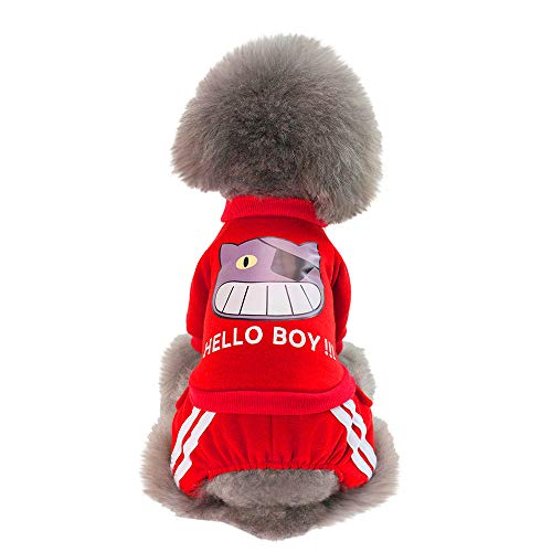 (Lookvv Pet Clothes for Dog Cat Puppy Coat Winter Sweatshirt Warm Sweater Dog Outfits,Hellow Boy Red)