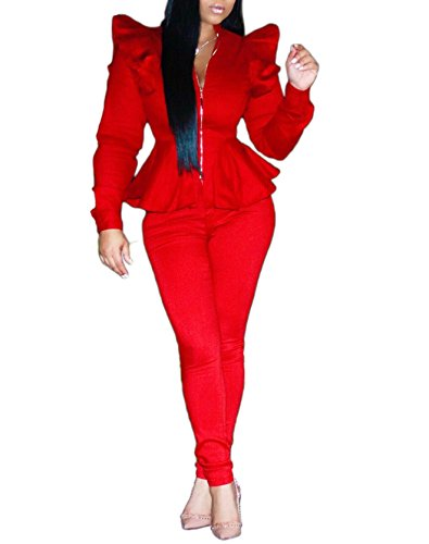 Womens Peplum Long Sleeve V Neck Blazer Jacket Long Pants 2 Pieces Set Outfits Red XL by Ceaiqu