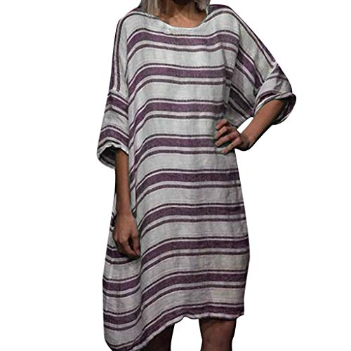 CCOOfhhc Dress for Womens Summer Round Neck Striped Printed Short Sleeve Loose Dress Party Dress Maternity Dress Red