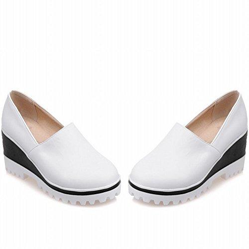 Latasa Plate-forme De Confort Mi-talon Casual Slip On Wedges Mocassins Chaussures Blanc
