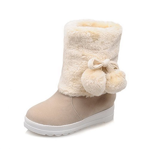 Round top Low Closed Boots on Heels Low Women's Beige Solid Toe Pull Allhqfashion OqFCUF