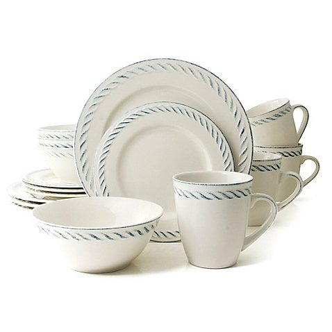Thomson Pottery Nautical Dutch 16-Piece Dinnerware Set in White