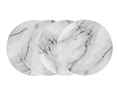 """Godinger Silver Art 7.5"""" Natural Marble Design Porcelain Salad Plates Dining Dinnerware Set of 4"""