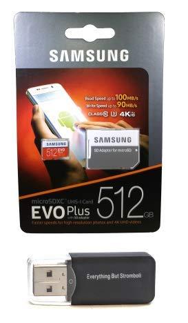 Samsung 512GB Micro SDXC EVO Plus (MB-MC512GA) Bundle Class 10 UHS-1 Works with Samsung Galaxy Note 9, S9, S9+, S8 Cell Phones Plus Everything But Stromboli (TM) TF Card Reader (Sdxc Evo)