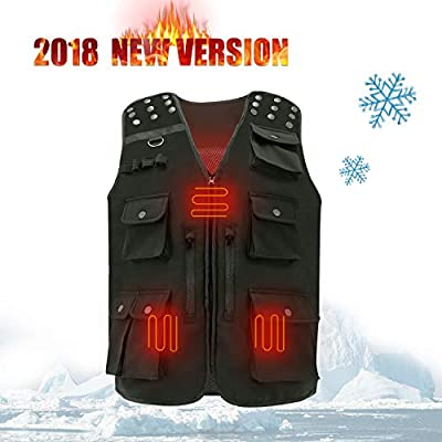 USB Heated Hunting Vest Electric Heated Body Warm Clothing Muti Pockets Fly Fishing Vest Tactical Vest Specially Design for Camping Travel Photography Outdoor Hiking Motorcycle Skiing Golf