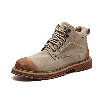 2019 New Arrival Men Boots Ankle Boots for Men High Top Fashion Shoes Durable PU Leather Upper Casual Classic Lace Up Men's Boots (Color : Beige, Size : 5.5 UK)