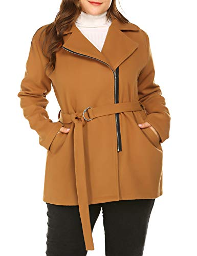 Chigant Womens Plus Size Pea Coats Double Breasted Coat Jacket Thigh Length Winter Coats Zip Down Jacket Blet Camel