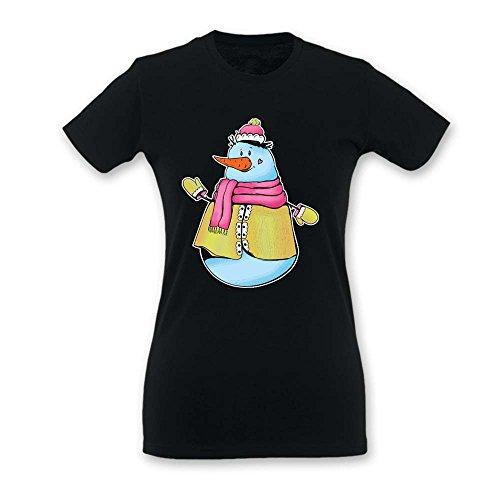 T Shirt Donna Idea Regalo di Natale Pupazzo di Neve Nera L