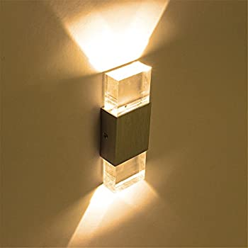led wall light warm white 2w modern cristal led wall lamps up down wall sconces for