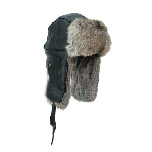 Balaclavas Headwear, Black with Brown Rabbit Fur, Large (Bomber Black Apparel)