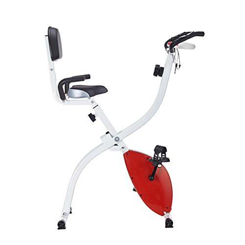 Pinty Folding Abdominal 8 Level Magnetic Upright Exercise Bike (Red) Pinty