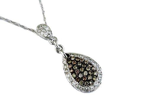 Milano Jewelers .36CT White & Chocolate Fancy Diamond 14KT White Gold Cluster Tear Drop Pendant ()