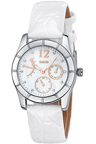 INWET Quartz Watch for Ladies,Mother of Pearl Dial,Crystal Indexes,White Leather Strap