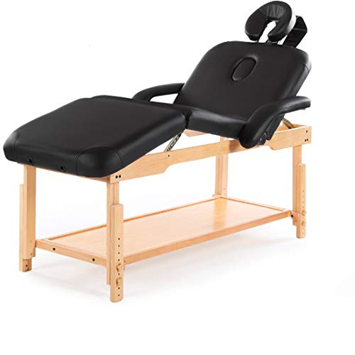 Massage Table Bed Stationary Professional Tilt Adjustable with Storage 3 Section Salon Couch (Black)