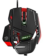 Mad Catz Wired Laser USB LED RGB Mouse with 11 Programmable Buttons, Weight Adjustable - Black