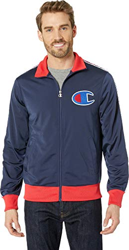 Track Crew Jacket (Champion LIFE Men's Track Jacket, Imperial Indigo/Scarlet, XX-Large)