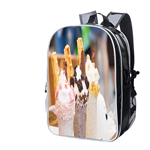(High-end Custom Laptop Backpack-Leisure Travel Backpack ice Cream Dessert with jam and Milk Whipped Cream on Wooden Water Resistant-Anti Theft - Durable -Ultralight- Classic-School-Black)