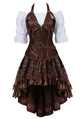 Grebrafan Pirate Corset Dress 3 Piece Halloween Costume Bustiers Skirt Blouse Set (US(4-6) S, Brown) -