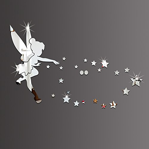 26pcs/set Tinkerbell Fairy Wall Mirror Acrylic Mirrored Decorative Tinker bell Wall stickers Home Decoration (silver) ()