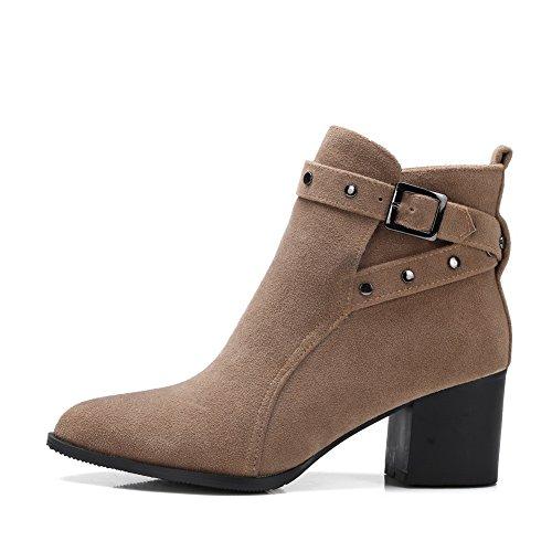 apricot AdeeSu Womens Mule Buckle Frosted Boots Heels Kitten UBgq0BR4w
