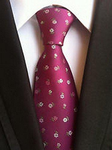 MINDoNG Necktie Polka Dot Red JACQUARD WOVEN Men's Tie GAG # 33251