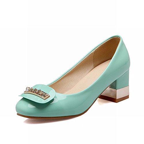 Carolbar Fashion Mujeres Sweet Rhinestone Charol Grace Chunky Vestido De Tacón Medio Bombas Zapatos Verdes