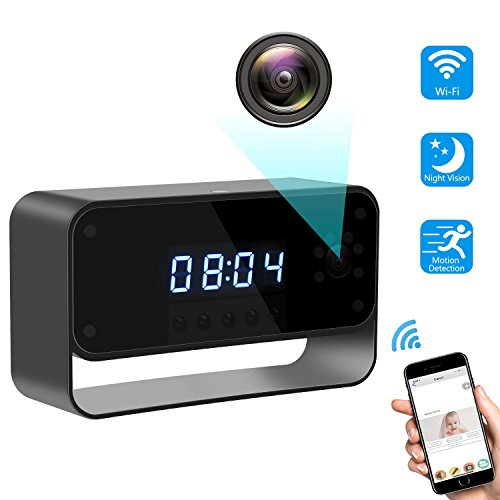 Spy Camera Wireless Hidden Camera Clock 1080P WiFi Covert Nanny Cam Secret Home Security Remote View via Android iPhone APP Motion Detection Record & Alarm Night Vision