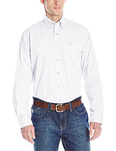 Cinch Men's Classic Fit Long Sleeve Button One Open Pocket Solid Basic, White, Large (Mens Cinch)