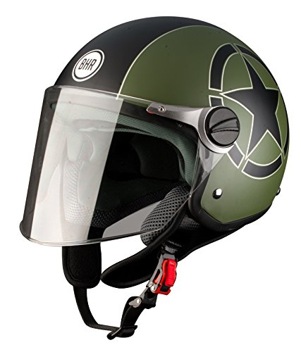 Amazon.es: BHR 93837 Demi-Jet Estrella 710 Casco de Moto, Color Negro, Talla 55/56 (S)
