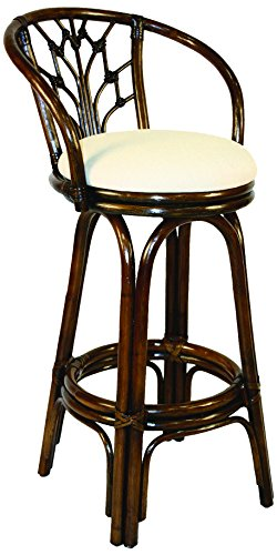 Hospitality Rattan 806-6094-ATQ-B Valencia Indoor Swivel Rattan & Wicker Bar Stool in Antique Finish with Cushion, 30