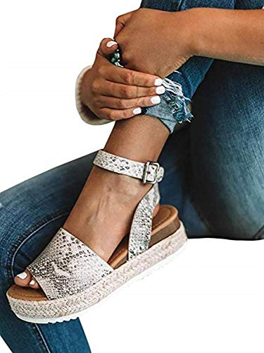 Comeon Women\'s Flatform Espadrilles Ankle Strap Buckle Open Toe Faux Leather Studded Wedge Summer Sandals (Snake,9.5 M US)