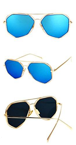 designer couleur de Hommes miroir soleil lens Lunettes Protéger Bord blue Lunettes DESESHENME lentille noir soleil de Brand or OYwxqg