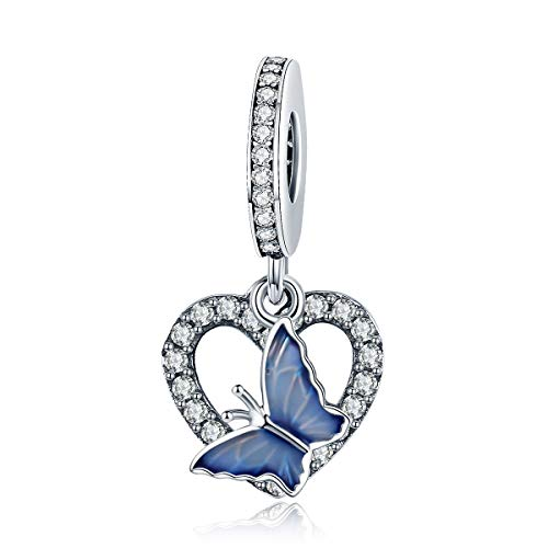 (Everbling Crystal Butterfly with Heart Shape Dangle 925 Sterling Silver Bead Fits European Charm Bracelet)