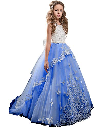 Flower Girl Dress Kids Lace Beaded Pageant Ball Gowns (Size 8, Royal Blue) ()