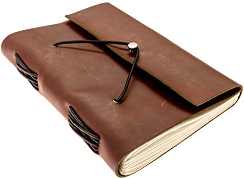 Genuine Leather Notebook - Handmade Journal, Diary with 200 Blank Pages, Gift Box - Premium Cowhide Leather Cover (Dark Brown)