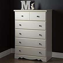 South Shore Furniture Country Poetry 5-Drawer Chest, White Wash