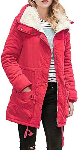 Womens Faux Fur Collar Thick Cotton-Padded Jackets JMETRIE Winter Warm Solid Slim Parka Coat Outerwear with Pockets