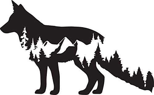 NBFU DECALS Wolf Wildlife 2 (Black) (Set of 2) Premium Waterproof Vinyl Decal Stickers for Laptop Phone Accessory Helmet Car Window Bumper Mug Tuber Cup Door Wall Decoration ()