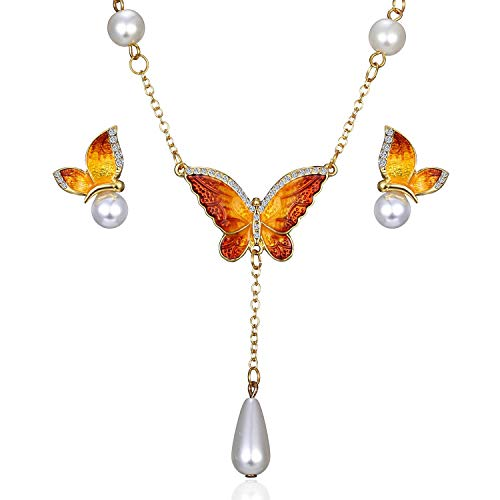AILUOR Elegant Enamel Butterfly Jewelry Set, Fashion Charm Gold Plated Crystal Rhinestone Imitation Pearl Water Drop Butterfly Pendant Necklace Stud Earrings for Women Girl (S2) ()