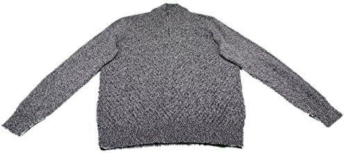 1/4 Zip Pullover Sweater (Calvin Klein Mens Quarter Zip Long Sleeve Knit Sweater, (Large, Black Marl))