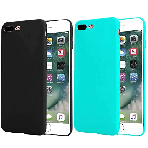 - [2packSlim Fit Case Compatible with iPhone 8 Plus Case/iPhone 7 Plus Case Slim Fit Design Holder Anti-Fingerprint Rubber Cover, for iPhone 7 Plus(2016)/iPhone 8 Plus(2017) 5.5 inch Phone (Black+Teal)
