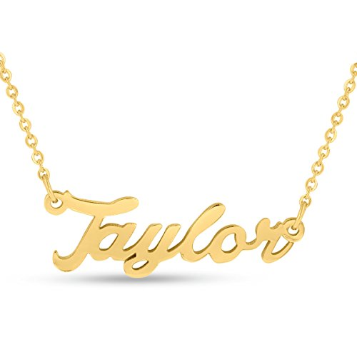 Taylor Nameplate Necklace In Gold (Gold Nameplate Necklace Pendant)